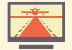 Airplane landing on runway.