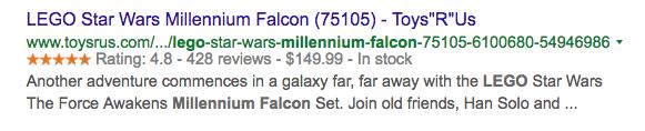 Toys R UsMillenium Falcon snippet image.