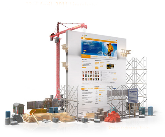 Construction scaffolding and supplies to maintain the content of a site (image).