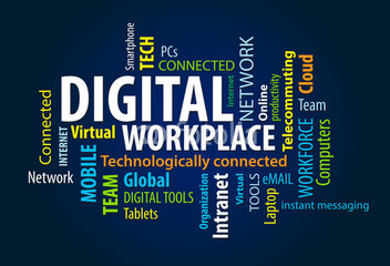 Digital workplace word cloud image.