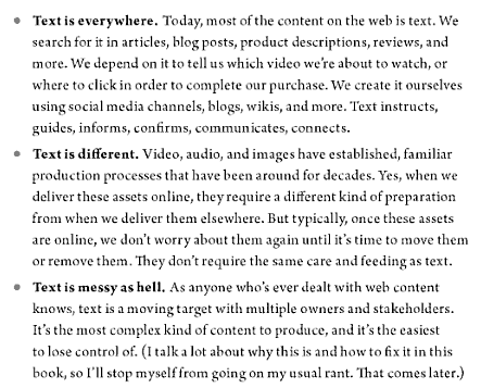 Screenshot image of a page from the book, Content Strategy for the Web.